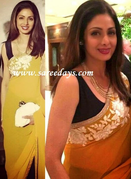 Latest saree designs sridevi in mustard manish malhotra saree checkout sridevi in mustard georgette manish malhotra designer saree with white brocade border and silverwork border and paired with contrast black altavistaventures Image collections