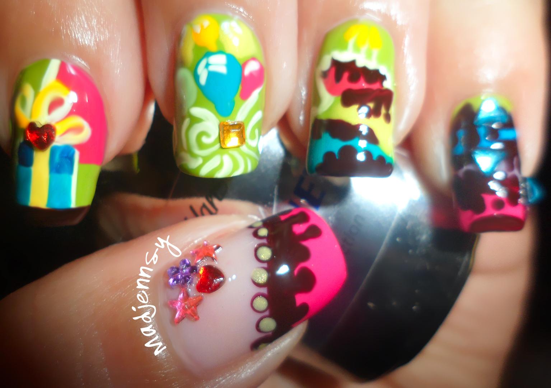 Madjennsy nail art 2013 birthday party nail art dise o for Disenos de unas