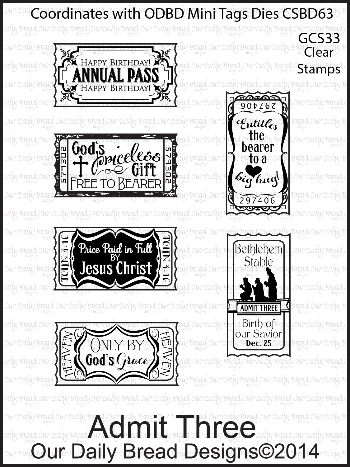 Stamps - Our Daily Bread Designs Admit Three