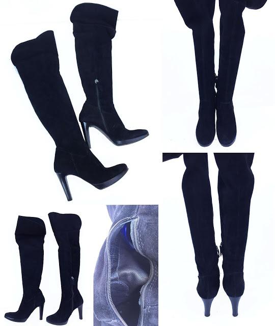 JULIE DEE-Cizme negre din piele întoarsă naturală, model peste genunchi, mărimea 38,5