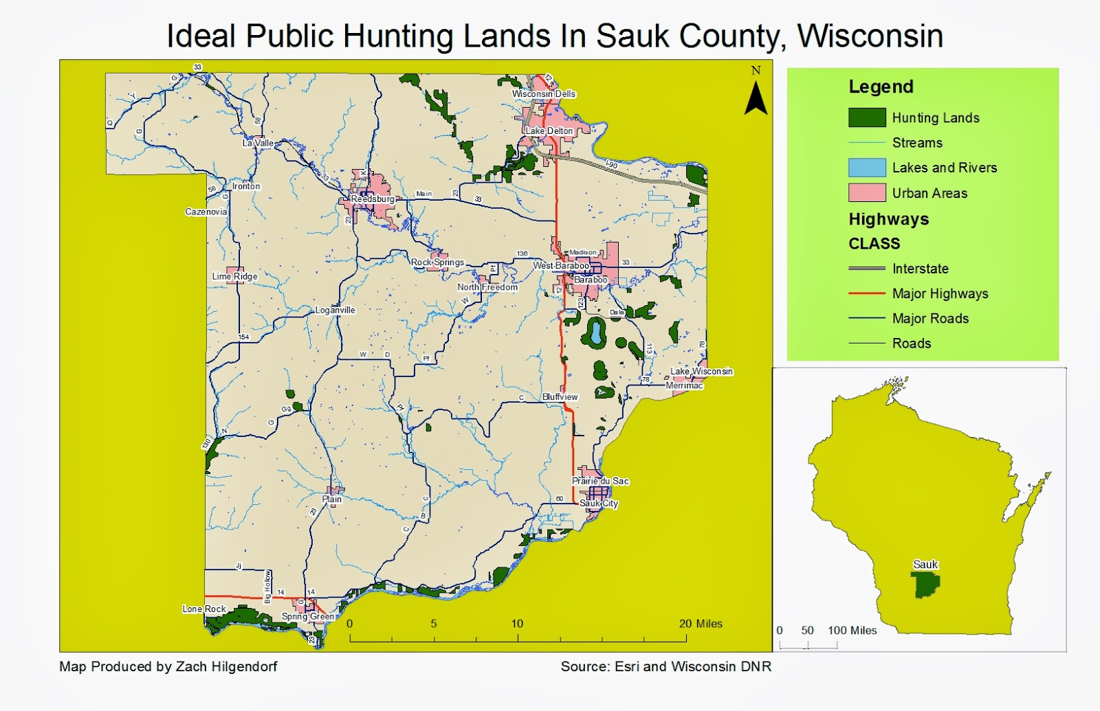 figure 1 this map shows the best suitable hunting land located on publicly managed dnr land in sauk county wisconsin the green polygons denote land