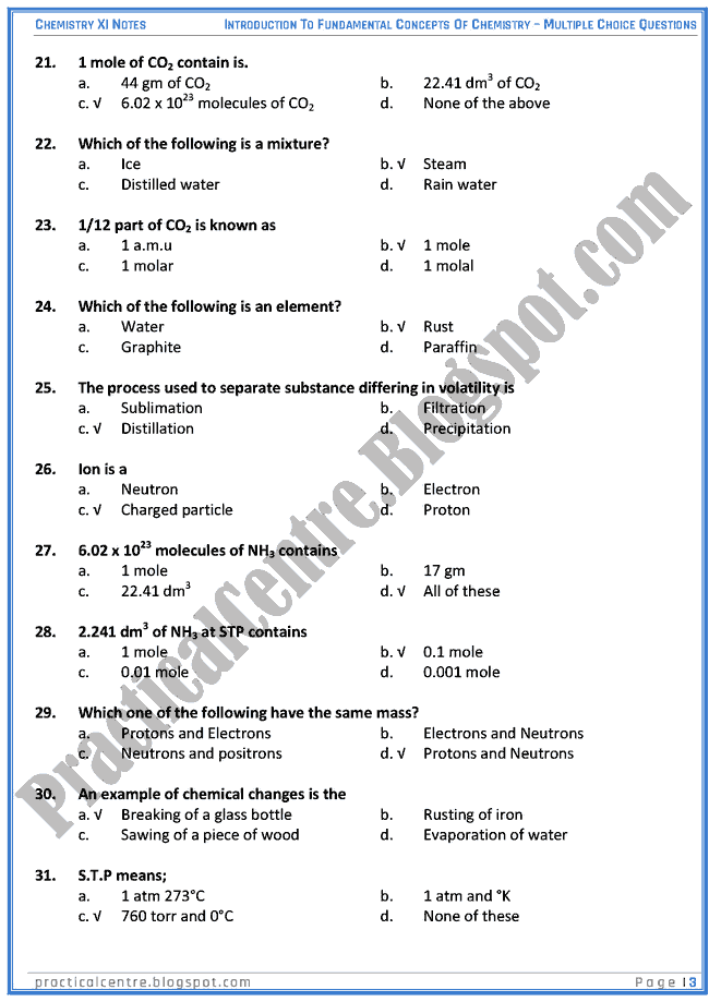 Introduction To Fundamental Concepts Of Chemistry - MCQs - Chemistry XI