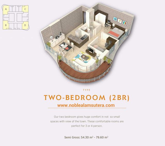 Tipe 2 BR Apartemen The Noble Alam Sutera