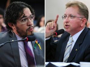 Os deputados Jean Wyllys e João Campos, durante audiência sobre o projeto que permite 'cura' para LGBTs (Fotos: Alexandra Martins/Agência Câmara)