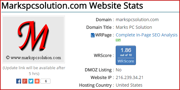 WebRank Stats View
