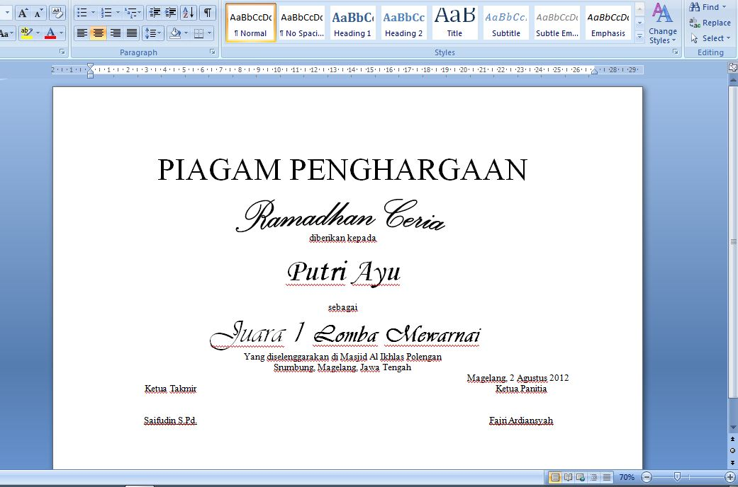 Contoh Format Piagam Penghargaan Lomba | Search Results | Template PSD