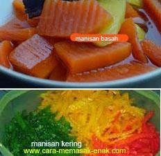 resep praktis dan mudah membuat (membikinP manisan pepaya basah dan kering enak, lezat
