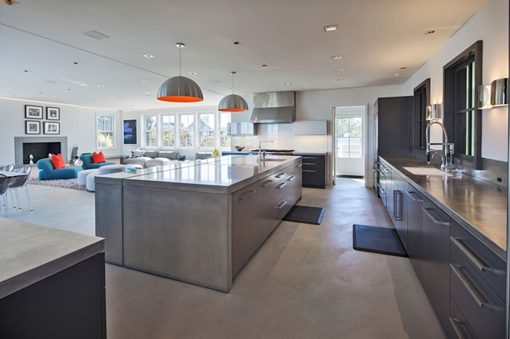 Modern kitchen island in Contemporary style home on the beach