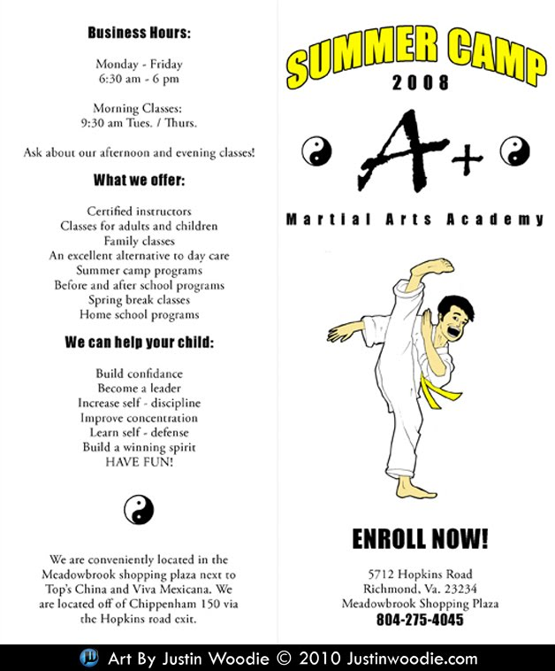 A + Martial Arts Summer Camp Flyer By Justin Woodie