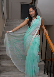 madhavi latha hot photos in Blue saree+(12)