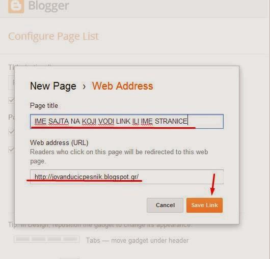 Kako da stranica na blogu bude link ka drugom blogu/sajtu/nekoj drugoj spoljnoj stranici?
