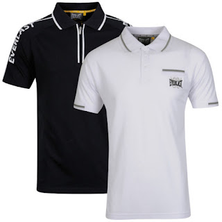 Everlast Men's 2-Pack Polo Shirt - Black Raglan Sleeve and White Tipped Polo