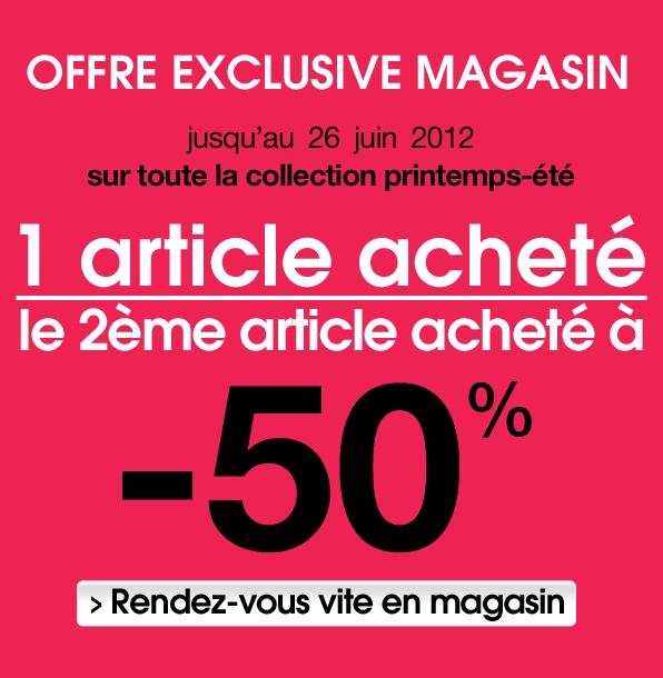 -50% sur le 2ème article dans votre magasin Pimkie !