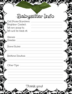 Clever image intended for babysitter info sheet printable