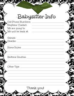 Playful image regarding babysitter info sheet printable