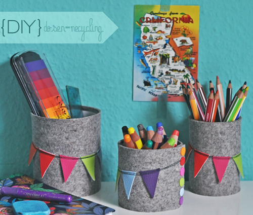 DIY+Felt+Pen+Holders+from+Tins+ Bright Colours and Interior DIY Home Decor Tutorials from Luzia Pimpinella Blog