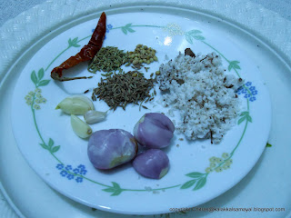 Ingredients for oconut Masala