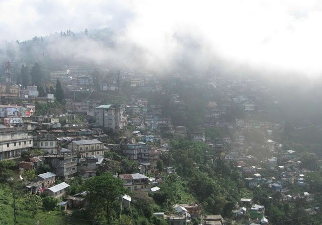 Kurseong Town covered in clouds