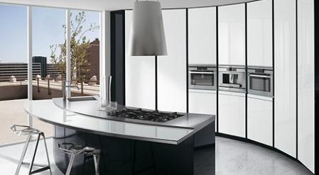 Dise o de cocinas curvas kansei cocinas servicio for Muebles tipo isla para cocina
