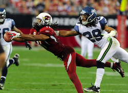 Larry Fitzgerald of Arizona makes an incredible, diving, one-handed catch against Seattle in Week 17