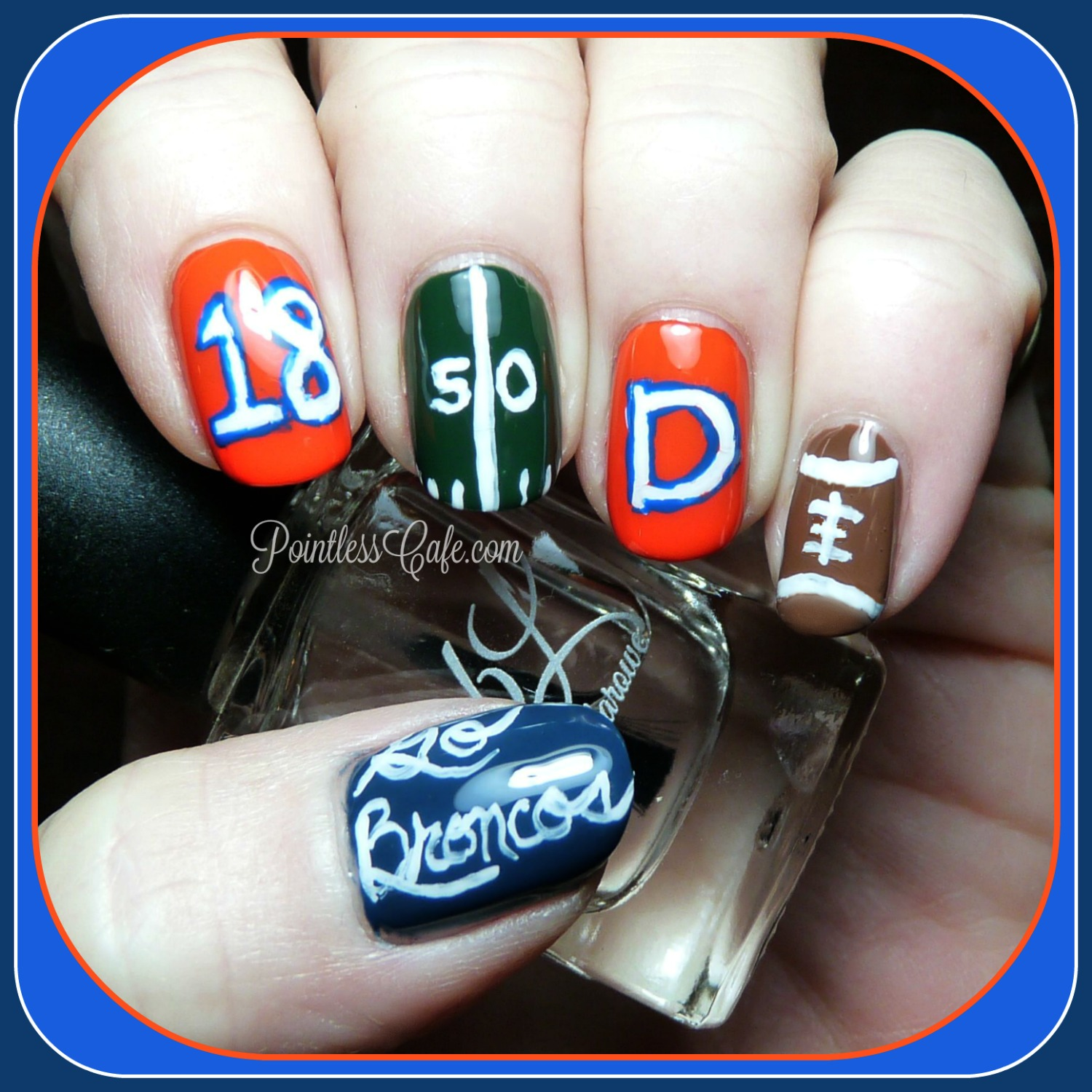 Nail of the Day: Super Bowl Nails - Go Broncos! | Pointless Cafe