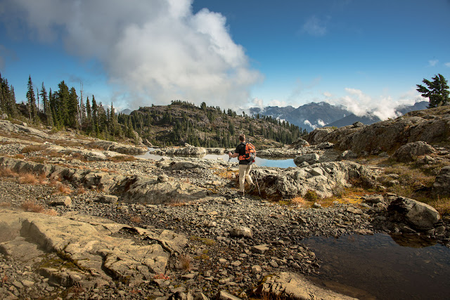 Phil, wending his way through the alpine to a high bump en route to Mount Phillips, Vancouver Island