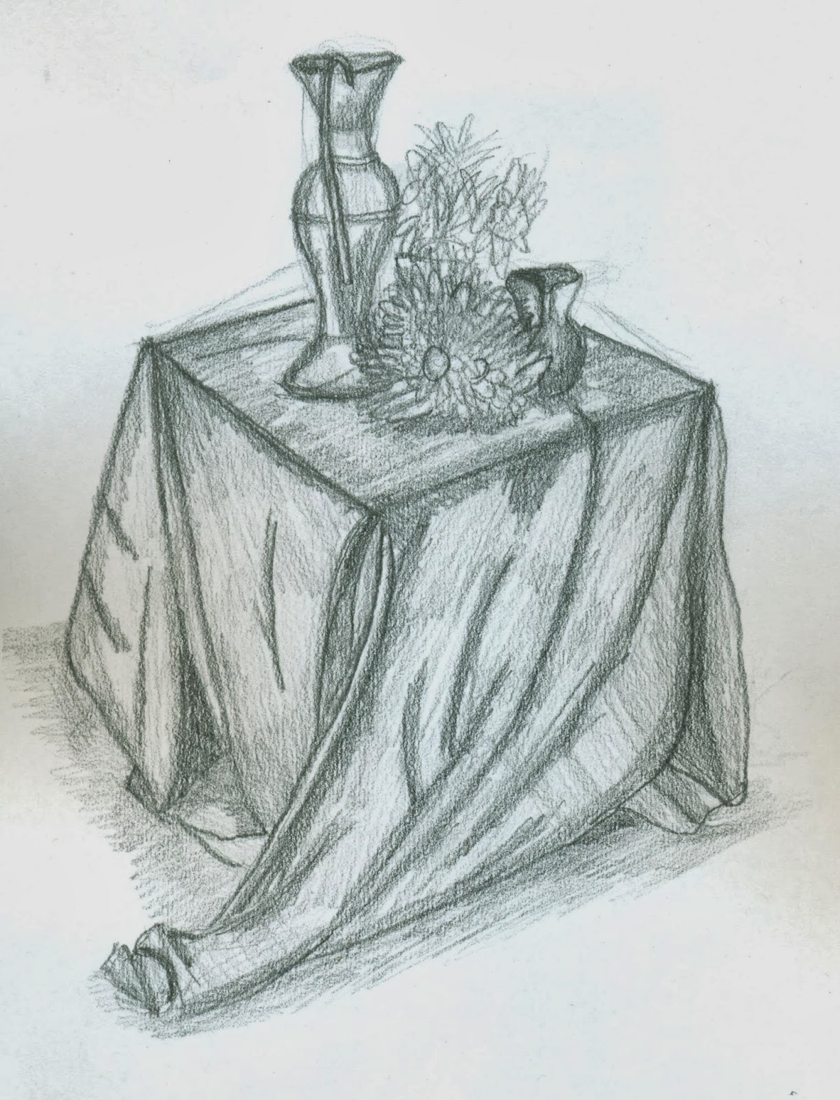 Observational drawings planning a drawing more perspective this is a graphite pencil drawing of a selection of vases and pots with flowers in between them the objects were arranged in such a way as to give it an reviewsmspy