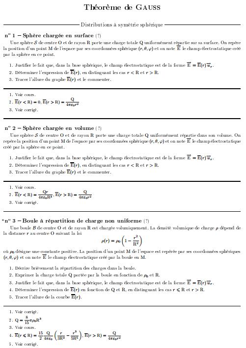 Exercices Corrigés Théorème de Gauss
