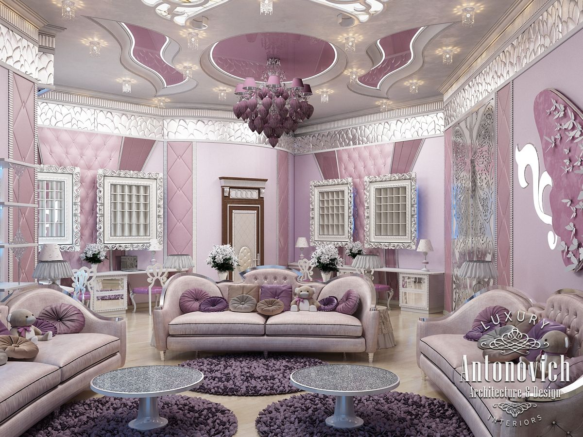 Luxury antonovich design uae pink girly bedroom dubai for Interior design bedroom pink