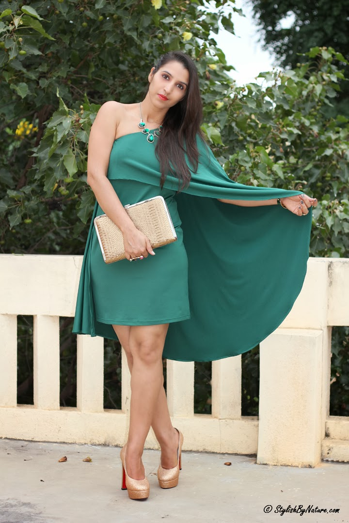 One Shoulder Dresses green