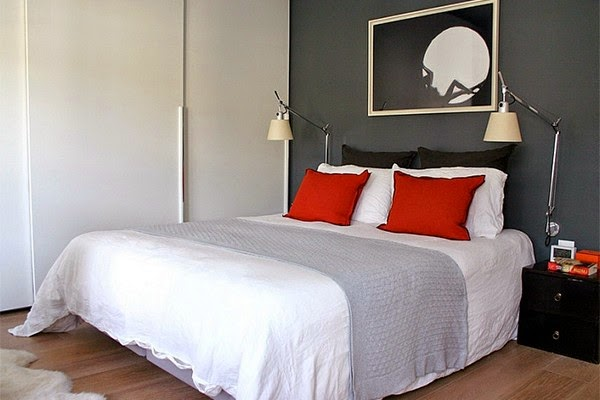 Modern Bedrooms Black to White shading with a Red touch