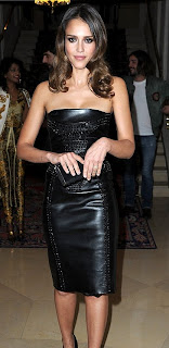 Jessica Alba's Leather & Vinyl Dress
