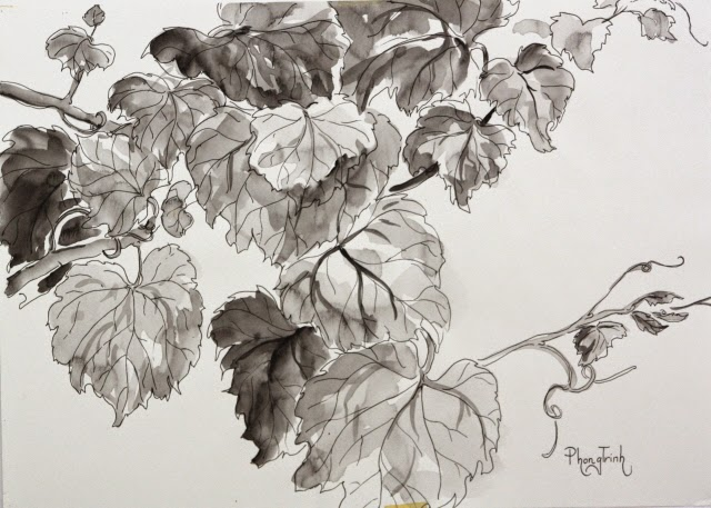 Exciting pen and brush work, watercolor on paper, 42x29.5cm, Original Fine Art Available for Purchase
