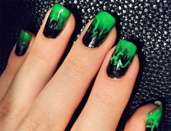 neon green crackle nails