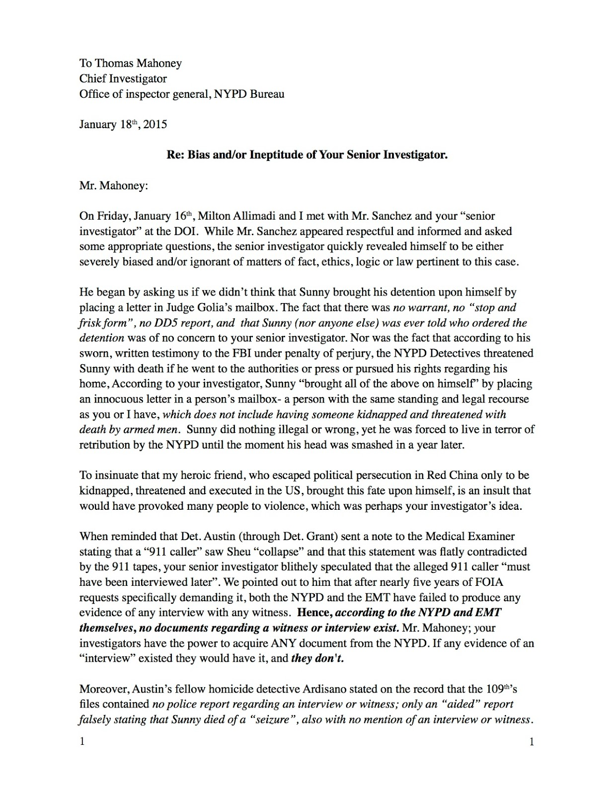 the murder of sunny sheu chief investigator thomas mahoney no response from mahoney