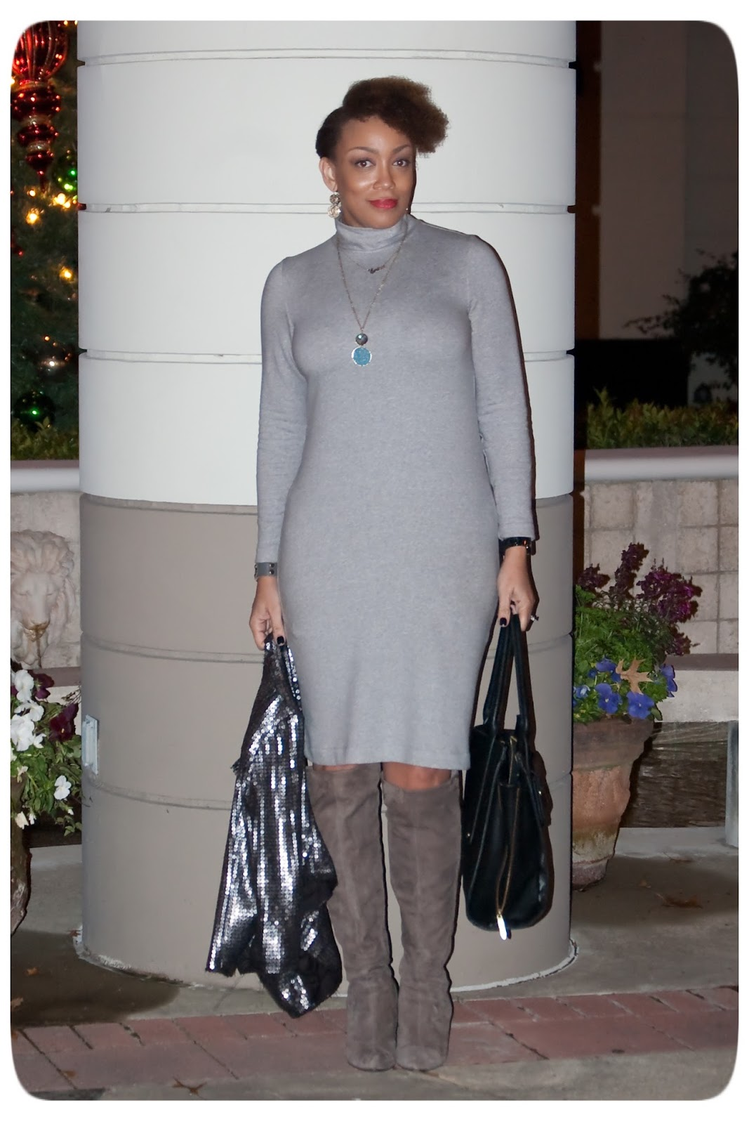 Vogue 8939 - Heathered Gray Jersey Knit Turtleneck Dress - Erica B's DIY Style!