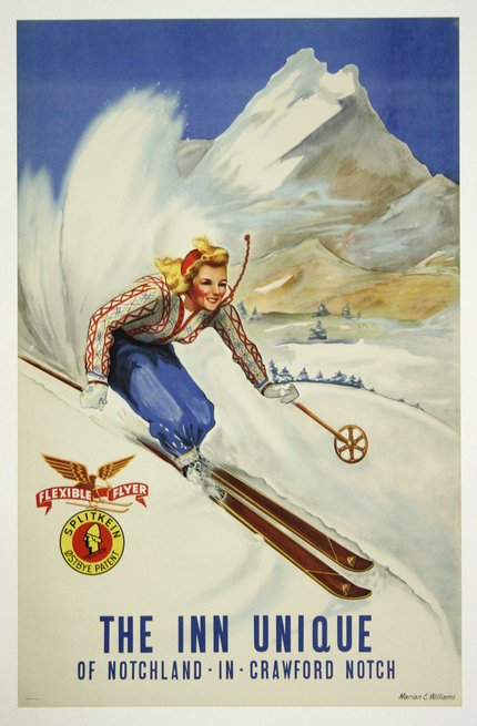 classic posters, free download, graphic design, retro prints, skiing, sports, travel, travel posters, vintage, vintage posters, The Inn Unique of Notchland, IN, Crawford Notch - Vintage Skiing Travel Poster