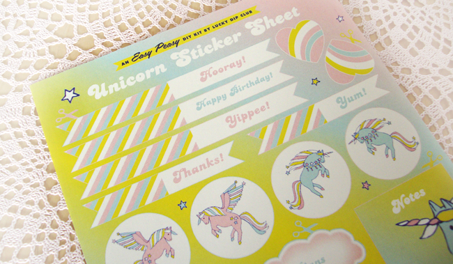 lucky dip club, unicorn stickers, kawaii stationary