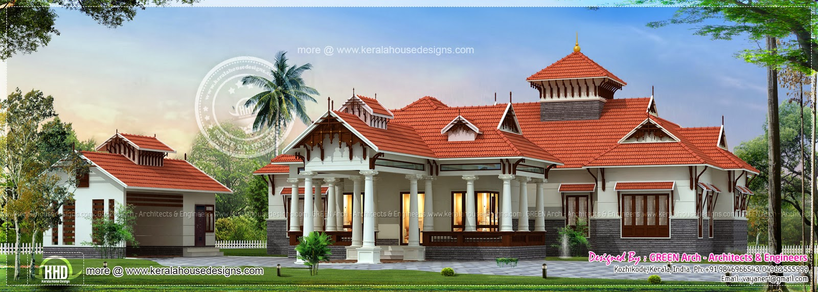 Traditional kerala style house with separate garage home for Traditional house plans in kerala