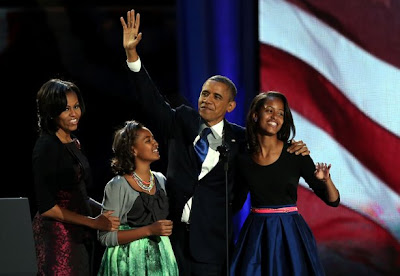 Obama Family After Winning 2012 Re-Election