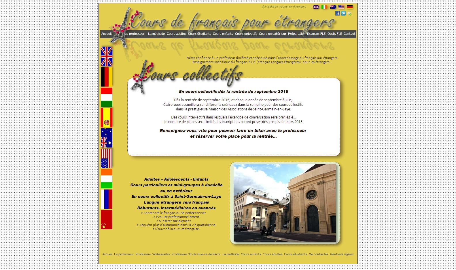 Cours collectifs français langue étrangère