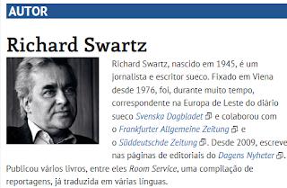 Richard Swartz; nascido;  jornalista e escritor sueco; Viena; correspondente; Europa de Leste;  diário; sueco; Svenska Dagbladet; Frankfurter Allgemeine Zeitung; Süddeutschde Zeitung
