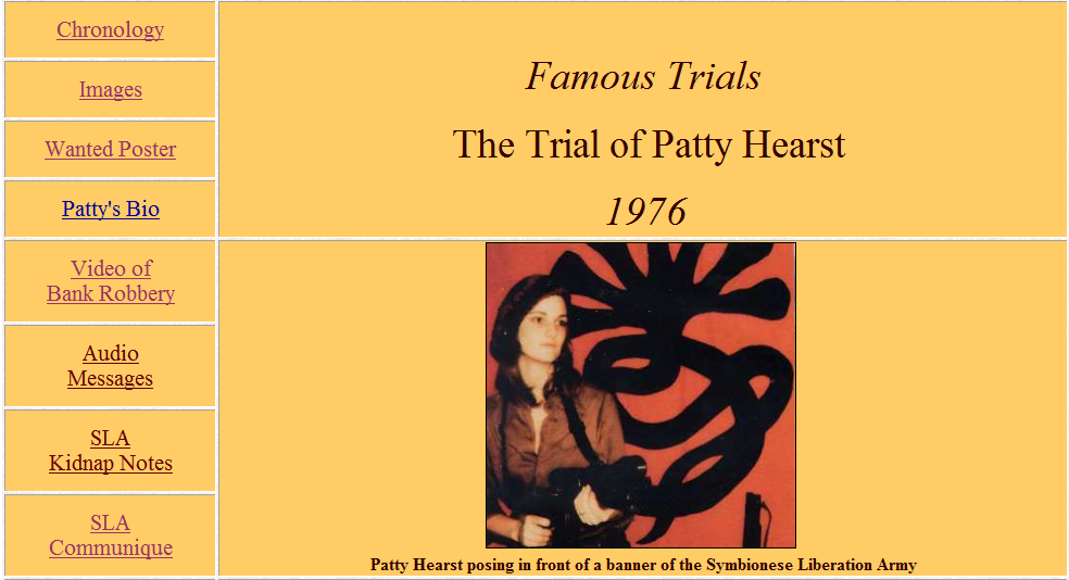 the patty hearst trial essay She is soft spoken and physically attractive the jury should be from middle from eng 103 at university of phoenix patty hearst trial journal entry # 2 the essay of grant and lee was well organized.