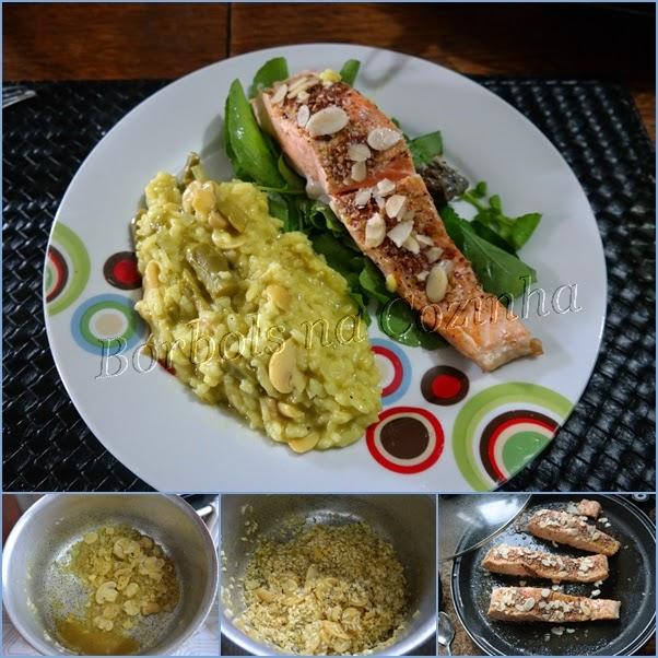 Risoto de aspargos e cogumelo com salmão grelhado coberto com quinoa em flocos e amêndoas