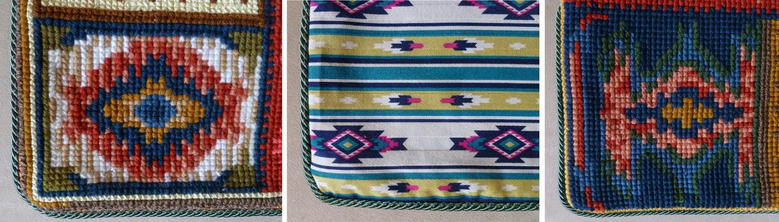 Вышивка на крупной канве подушки