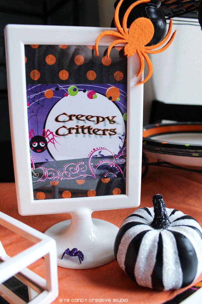 creepy critters sign, IKEA sign, pumpkin, spider, halloween party decor