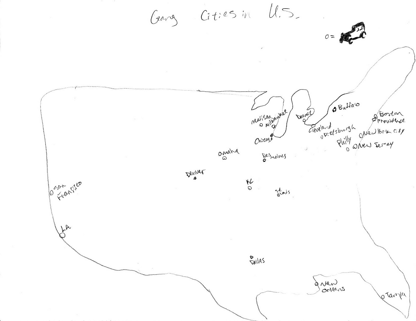 this is a map showing the various urban locations of the mafia in the united states