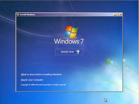Cara Instal Windows 7 - Instal Now