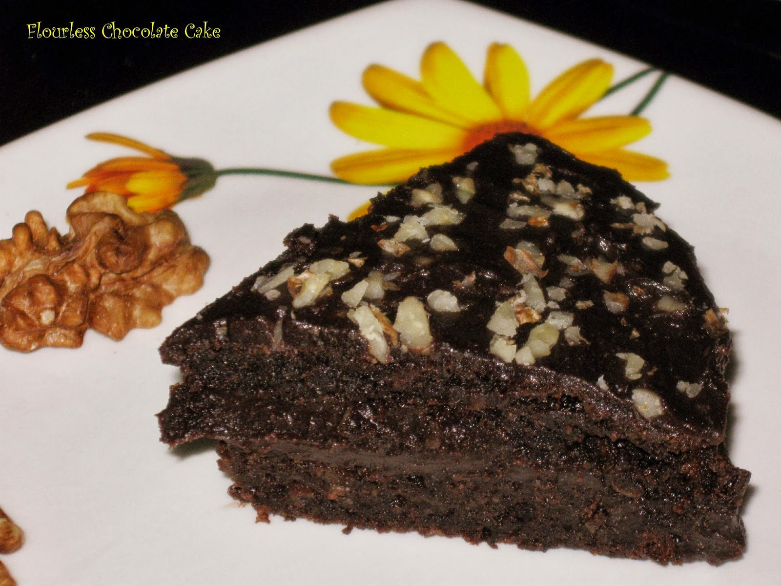 Palate's Desire: Flourless Chocolate Cake with Chocolate Ganache