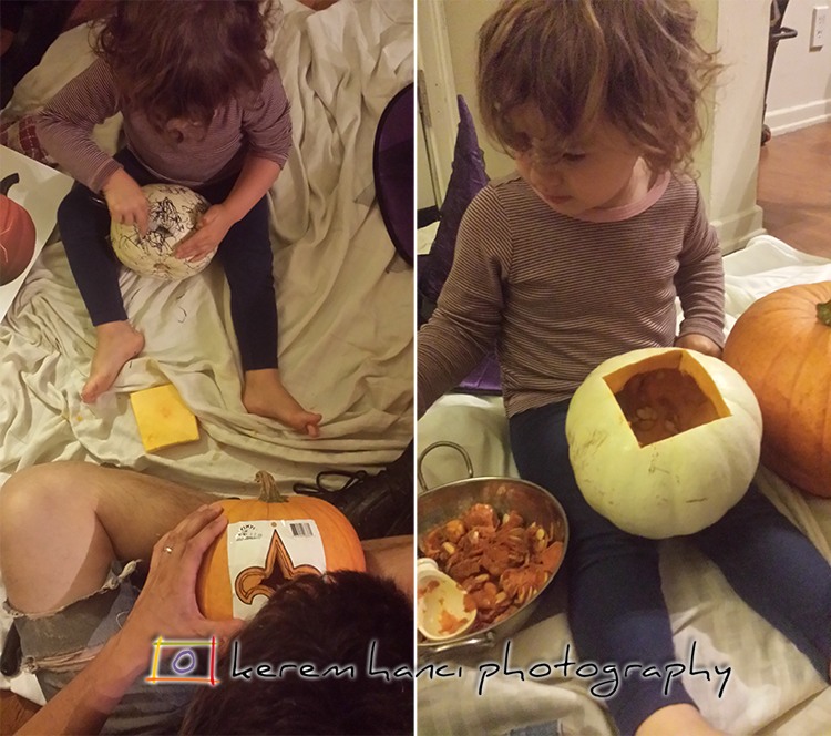 A family tradition of pumpkin carving at Hanci residence